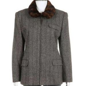 RALPH LAUREN silk & wool jacket w faux fur…